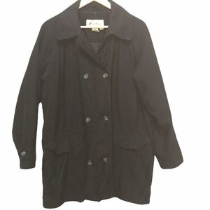 Eddie Bauer black button front thermal insulation trench coat L